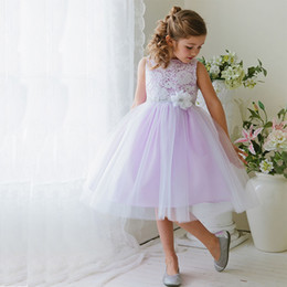 flower girl skirt top NZ - Lovely Lilac and White Flower Girls Dresses for Weddings Bateau Neck Sleeveless Lace Top Tulle Skirt Flowergirl Dresses Crystls and Flower
