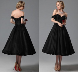 $enCountryForm.capitalKeyWord Canada - Sexy Little Black Short Prom Dresses Evening Gowns 2017 Cap Sleeves Sweetheart Off Shoulder A Line Tea-Length Party Gowns Homecoming Dresses