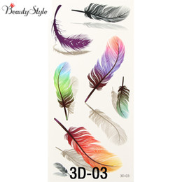 Gros Faux Plumes Pas Cher-Vente en gros- 10PC Inspire Colorful 3D sur Body Art Coffre épaule Finger Stickers Glitter Temporaire Tattoos Removal Fake Small Plumes Wings
