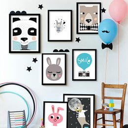 unframed canvas prints Australia - Canvas Animal Nursery Prints Cartoon Panda Bear Fox Wall Art Prints Posters Nordic Baby Kids Bedroom Decorative Painting Pictures Unframed