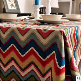 $enCountryForm.capitalKeyWord Canada - Canvas 100*100 square Table cloth waterproof cotton Table Cover Bohemian color stripe Banquet wedding Party Decoration Tables Home Textile