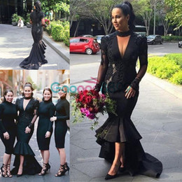 high low feather dress 2019 - Robe De Soiree 2017 Sexy African Black High Low Prom Dresses Deep V-Neck Formal Party Gowns Plus Size vestido de noche P