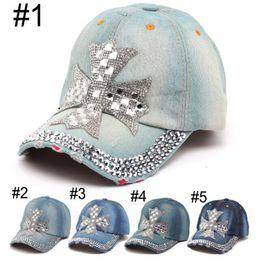 5176b71538a DHL Women Denim Sun Hat Summer Fashion Designer Cross Rhinestone Sport Hats  Super Quality Outdoor Sport Hat Baseball Hats Caps for Lady Men