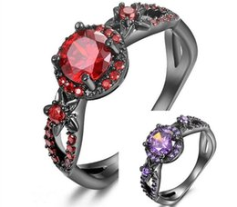 Discount black gold filled jewelry - Black Gold Filled Ring Purple Red Zircon Rings Fashion Women Wedding Flower Jewelry Engagement Rings JY