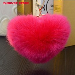 $enCountryForm.capitalKeyWord NZ - New Rabbit Fur heart shape Keychain Bag Plush decoration Car Key Ring Car Key lover's Pendant Fast Shipping