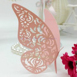 Wholesale  100pcs Butterfly Paper Place Escort Card Cup Card Wine Glass Card  For Wedding Decoration Table Decoration Accessories 5ZCD014 Card Table ...