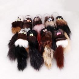 "China Women Kids Gift FBA Drop Shipping 7.87""*1.97"" Fox Fur 3D Cute Mouse Squirrel Keychain Handbag Key Ring Car Key C97Q suppliers"