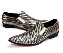 T B Wedding Dresses NZ - Luxury Casual Men Gold Dress Shoes Male Slip-On Genuine Leather Sequins Shoes Nightclub T-shows Personality Wedding Shoes 38-46 AXX287
