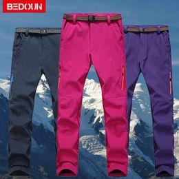 Discount brown trousers men - Wholesale- Snow Ski Pants Winter Warm Waterproof Men Women Polartec Hiking Windproof Fleece Thermal Snowboard Pants Femm