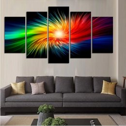Lovely 5pcs Set Modern Oil Painting (No Frame)Abstract Fantacy Color Canvas Giclee  Wall Art Picture For Living Room Home Decoration (Size:2 Sizes)