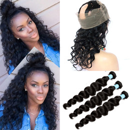 $enCountryForm.capitalKeyWord Canada - Brazilian Hair Loose Wave 360 Lace Frontal Closure With Bundles 3pcs Loose Curly Human Hair With 360 Lace Band Frontal 4Pcs Lot