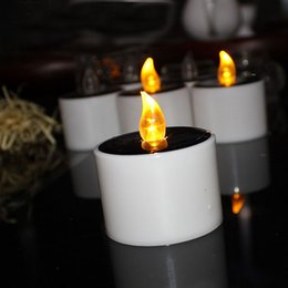 Flameless candles Free shipping online shopping - Yellow Flicker Solar Power LED Light Candles Flameless Nightlight Wedding Christmas Party Decoration ZA5265