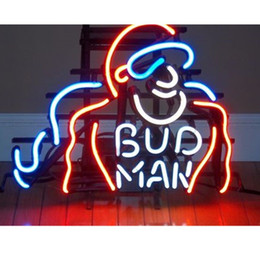 "$enCountryForm.capitalKeyWord Canada - 17""x14"" Bud Man Handcrafted Real Glass Tube BEER BAR GAME ROOM NEON LIGHT WALL SIGN"