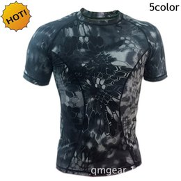 jungle print shirts 2021 - High Quality 2017 Summer Outdoor Hiking Climb Jungle Snake Camouflage Print Cargo Short Sleeve Army Quick Dry Sweat Tactical T shirt Top Men