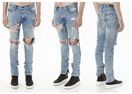 Designer KANYE Justin Bieber Men Jeans Fear Of God Ripped Jeans Blue Rock Star Mens Jumpsuit Denim Male Pants