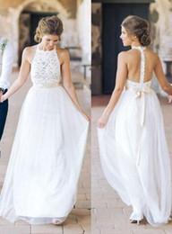 $enCountryForm.capitalKeyWord Canada - 2017 Sexy New Halter Chiffon Bohemian Wedding Dresses Lace Top Backless Sash Bridal Wedding Dresses