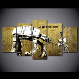 $enCountryForm.capitalKeyWord NZ - 5 Pcs Set HD Printed Robot Father And Kids Banksy Home Decor Wall Poster Picture Modern Framed Canvas Oil Painting