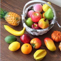 Decorative Artificial Fruits And Vegetables Model Foam Apple Peach Orange  DIY Plastic Lifelike Fake Fruit For Home Decor