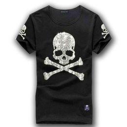 men rhinestone t shirts 2019 - MMJ mastermind japan shining diamond rhinestone skull gun o-neck short-sleeve cotton t-shirt tee white and black color c