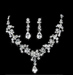Newest Wedding Australia Crystal Bridal Jewelry Sets For Women Silver Square Necklace Bracelet Earrings With Stones 11.11 Sale Sale Price Bridal Jewelry Sets Jewelry & Accessories