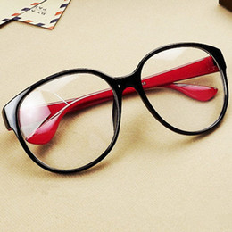 98ff0d5fde2 Wholesale-high quality glass women fashion sunglasses big black box empty  myopia and Arale circle flat mirror plate Wholsale