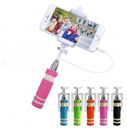 Wholesale Hot Foldable Super Mini Wired Selfie Stick Handheld Extendable Monopod wired shutter Handle Compatible with cell phone