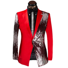 China Wholesale- New Wedding Costume Groom Half-length Sequined Dress For Men Suits 2017 Tuxedo Casual Presided Blazer With Pants singer clothing cheap sequined tuxedo suppliers