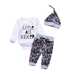 China Mikrdoo 3pcs Fashion Baby Clothes Newborn Infant Kids Boys Little Ass Kicker Letter Romper Tops Print Skull Pants Hat Outfits Cotton Suits cheap little kids suits suppliers