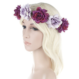 China Handcrafted Pastel Flower Crown For Brides Bohemian Flower Headband Wedding Flower Crown Boho Bridal Headpiece Newest Style cheap headpieces for hair suppliers
