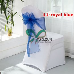 $enCountryForm.capitalKeyWord NZ - Hot Sale White Spandex Chair Cover With Royal Blue Color Organza Chair Sash