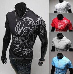 Barato Moda Masculina Design Casual Camisas-New Design Dragon Print Men T Shirt Slim Fit O-Neck T-Shirts Homens Moda de verão Camisa de manga curta Casual tshirt Tee Tops M-3XL