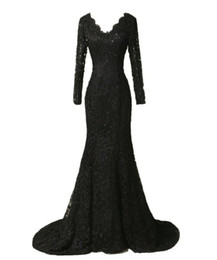 $enCountryForm.capitalKeyWord UK - Elegant Long Sleeve Lace Prom Dresses 2017 Black Mermaid Evening Dresses Long Vestidos De Festa Curto