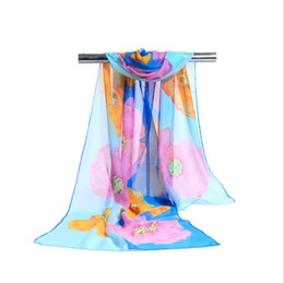 China Factory Cheap Woman Scarf Silk Brand Luxury Print Big Flower Polyester Ladies Chiffon Scrawl Flower Printed Wrap Scarf Beach Cover 160*50cm suppliers