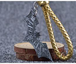 Discount batman metal keychain - Batman Metal Key Chain Hand Knit Leather Rope Bat Keychain Fashion Movie Jewelry Accessories Superhero Keychain