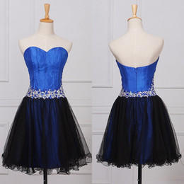 Barato Imagens De New Sexy-2017 Real Pictures Royal Blue Crystal Curto Vestidos de baile Exposed Boning Novo A-Line Cheap Sexy Simple Party Mini Pageant Gowns Imagens reais