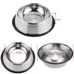 Ciotola per cani in acciaio Pet in acciaio per animali domestici Ciotole per cani Cucciolo per gatti Cibo o bevande Ciotola per l'acqua Piatto 77