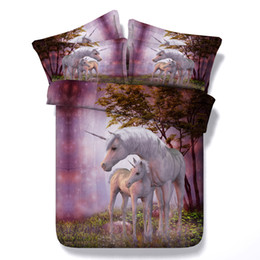 Chinese  3D Printed Purple Dreamlike Unicorn Bedding Sets Twin Full Queen King Size Bedspreads Dovet Cover Sets Pillow Shams Comforter Horse Animal manufacturers