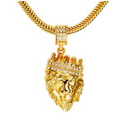 $enCountryForm.capitalKeyWord NZ - 2017 Fashion Hip Hop Shiny Diamond Crystal Crown Lion Head Pendant Necklace Mens 14K Gold Plated Long Chain Necklace Party Gifts