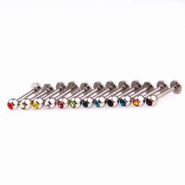 $enCountryForm.capitalKeyWord NZ - Labret Ring Lip Piercing Stud Crystal Gem Stone Fashion Body Jewelry 316L Stainless Steel 16G 6mm 8mm 10mm bar Ear Tragus Bone