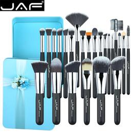 Taklon hair online shopping - Jaf Set Makeup Brushes Synthetic Hair Taklon Premium Green Metal Box Wrapping Gift Brush Set For Make Up Lady J2418gn B