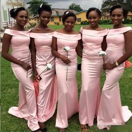 Blush Bridesmaids Wedding Pas Cher-Blush Pink Off Shoulder Mermaid Robes de demoiselle d'honneur Long African Women Wedding Dress Dress Satin Simple Party Dress Women Formal Wear