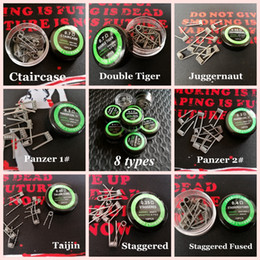 Rda wiRe online shopping - 10 types Double Tiger Juggernaut Ctaircase prebuilt coil wire Panzer Staggered Taijin Fused premade wrap wires for vape rda