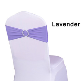 spandex chair covers bands NZ - Chair Sash Bands Spandex 15X35cm Purple Stretch Lycra Chair Cover Sashes Bows with Diamond Ring for Weddings