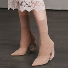 $enCountryForm.capitalKeyWord Canada - 2017 Famous Brand Women Ankle Boots Autumn Winter Knitting Stretch Fabric Socks Boot Fretwork Heels Shoes Top Quality High Heel