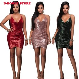 Tissus En Robe En Polyester Pas Cher-2017 Sexy strap v neck Rose Gold Sequin Ruched Club Dress mini bodycon vestidos sequined tissu fille vêtements en gros
