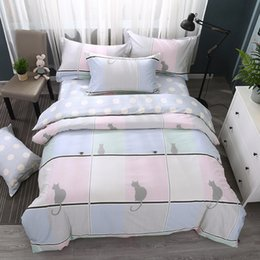 discount cat print sheets queen bedding set cat bed sheets home textiles fashion cotton feather - Queen Bed Sheets