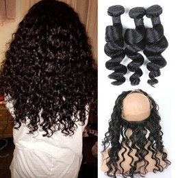 Discount human loose curl hair bundles - Full Frontal With Bundles Loose Curls Peruvian Human Hair 360 Closure And Bundles Cheap Loose Wave 360 Lace Frontal With