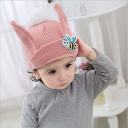 45dcfd5f955 Boys Girls Hats Poms Beanie Kids Fur Pompom Animal Bees Baby Winter Wool  Knitted Warm Caps For Children 50pcs Free Shipping. NZ 4.87 ...