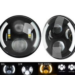 "halo headlamps UK - 1 Pair 7"" Inch LED Headlight With Halo Angel Eyes For Lada 4x4 urban Niva Jeep JK Land rover defender Hummer Led Headlamp"