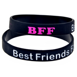 Chinese  Wholesale 100PCS Lot BFF - Best Friends Forever Silicone Wristband Bracelet Ink Filled Logo Adult Size 2 Colours manufacturers